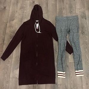 Garage - Maroon Hoodie Dress & Leggings